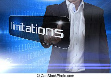 palabra, señalar, limitaciones, hombre de negocios