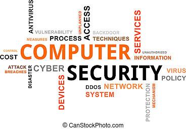 palabra, seguridad, computadora, -, nube