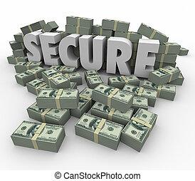 palabra, seguro, pilas, dinero, seguro, efectivo, ahorros, financiero, 3d