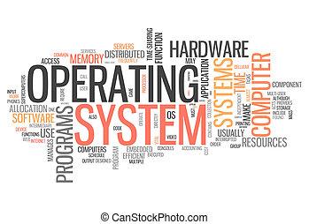 palabra, sistema operativo, nube
