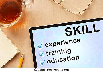 palabra, skill., tableta
