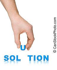 palabra, solución, mano