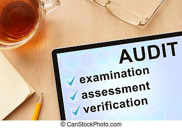 palabra, tableta, audit.