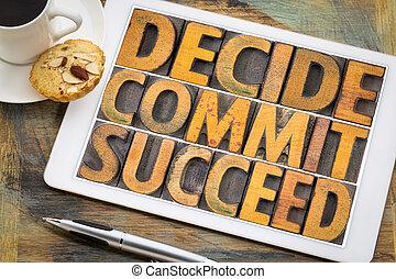palabra, tableta, resumen, triunfe, cometer, decidir