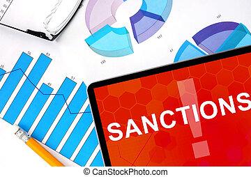 palabra, tableta, sanciones