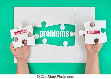 palabra, tenencia, perdido, proceso, rompecabezas, blanco, mano, solución, hembra, cierre, elemento, problema