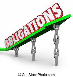 palabra, trabajando, obligaciones, juntos, flecha, equipo, Cumplir,  dut, elevación