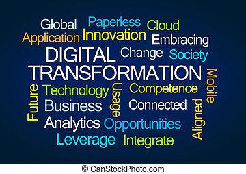 palabra, transformación, nube, digital