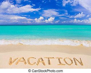 palabra, vacaciones, en, playa