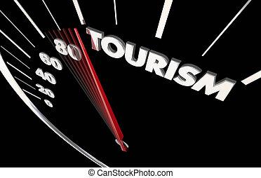 palabra, velocímetro, viaje, ilustración, agente, transporte...