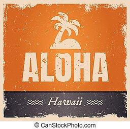palabra, vendimia, aloha, vector, retro, plano de fondo,...