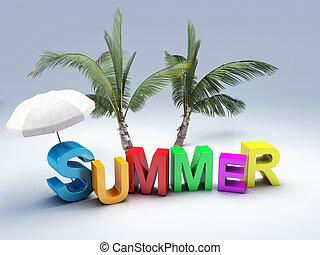 palabra, verano, con, colorido, carta, 3d, ilustración