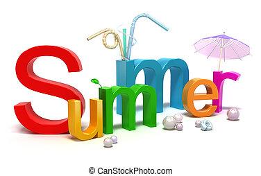 palabra, verano, con, colorido, cartas
