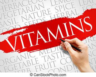 palabra, vitaminas, nube