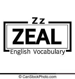 palabra, vocabulario, celo, ilustración, diseño, inglés