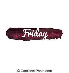 palabra, week., cita, viernes, aislado, ilustración, mano, ...