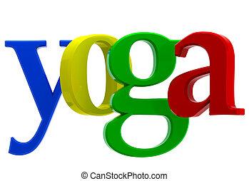 palabra, yoga, colorido