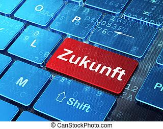palabra, zukunft(german), render, timeline, botón, teclado, plano de fondo, entrar, computadora, concept:, 3d