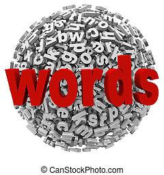 palabras, carta, pelota, esfera, mensajes, resumen, palabra, alfabeto
