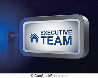 palabras, cartelera, equipo, ejecutivo