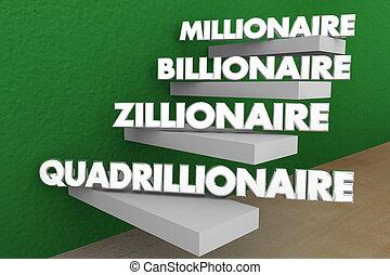 palabras, conseguir, billonario, ilustración, pasos, ...