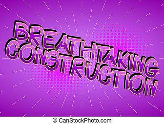 palabras, construcción, caricatura, libro, cómico, impresionante, estilo