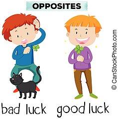 palabras, contrario, suerte, malo, bueno