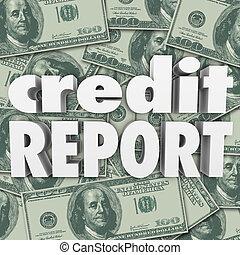 palabras, dinero, efectivo, credito, raya, plano de fondo, informe, 3d
