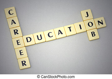 palabras, educación, carrera, y, trabajo, en, un, fondo gris