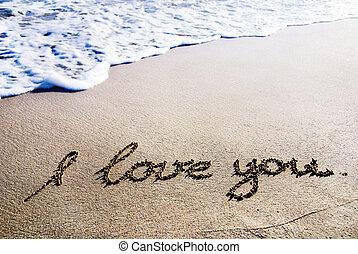 """palabras, """"i, amor, you"""", contorno, en, el, arena mojada, con, onda, brillantez"""