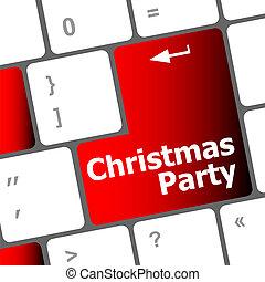 palabras, llave computadora, teclado, fiesta, navidad