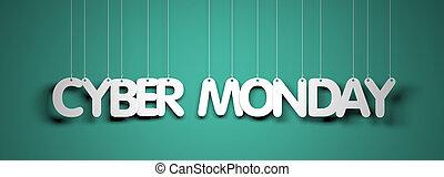 palabras, lunes, -, ilustración, fondo., cyber, cerceta,...