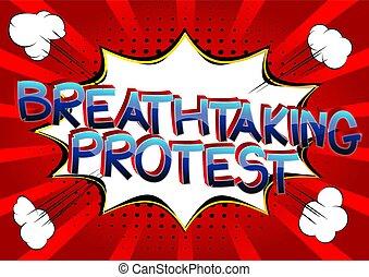 palabras, protesta, cómico, estilo, caricatura, libro, impresionante