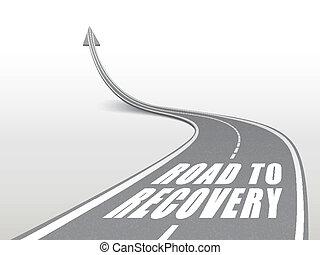 palabras, recuperación, camino, carretera