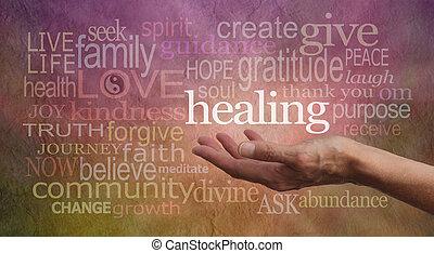 palabras, resonancia, curación, alto