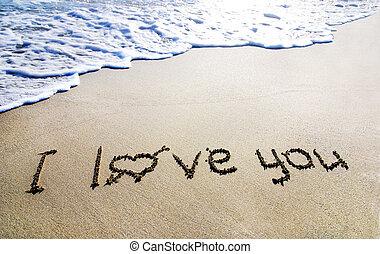 palabras, te amo, arena