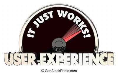 palabras, velocímetro, él, experiencia, usuario, trabaja, sólo, ilustración, 3d