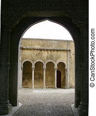 palace archways - walkways in Castello da Pena in Sintra,...