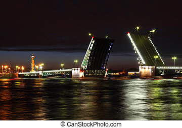 Palace Bridge drawbridge and Rostral Column at night....