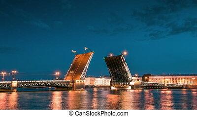 Palace Bridge In St.Petersburg, Rus