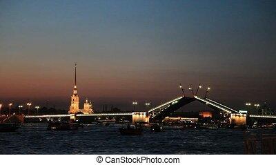 Palace bridge opening, St.Petersburg