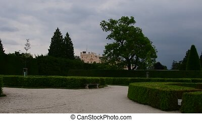 Palace - Chateau Lednice and chateau garden. Castle Lednice,...