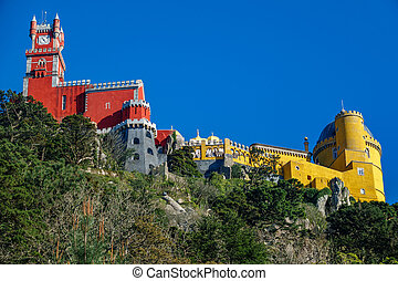 Palace da Pena on top of the rocks worms eye view. Sintra, Lisbon. Portugal