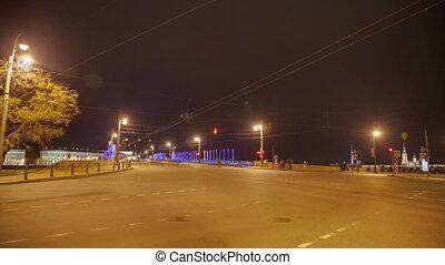 Palace drawbridge  night drawning in Saint Petersburg, Russia zoom timelapse