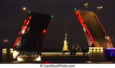 Palace drawbridge. Saint-Petersburg. 4K.