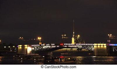 Palace drawbridge. Saint-Petersburg. Timelapse. 4K.