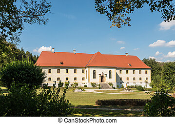 Beautiful Palace Ehrenfels near the Wimsener Cove in the biosphere area of the Swabian Alb