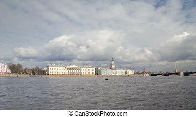 Palace Embankment motion timelapse day Kunstkamera view -...