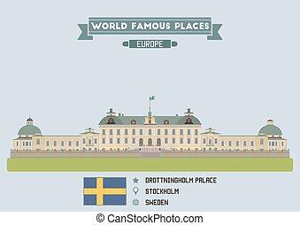 palace., estocolmo, drottningholm, suecia