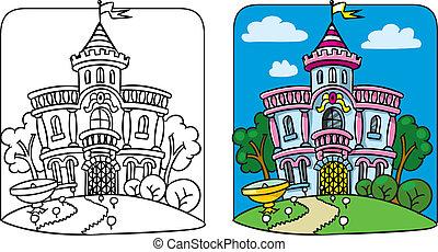 palace., fée, livre coloration